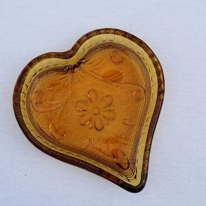 Vintage Amber Tiara Heart Trinket Dish